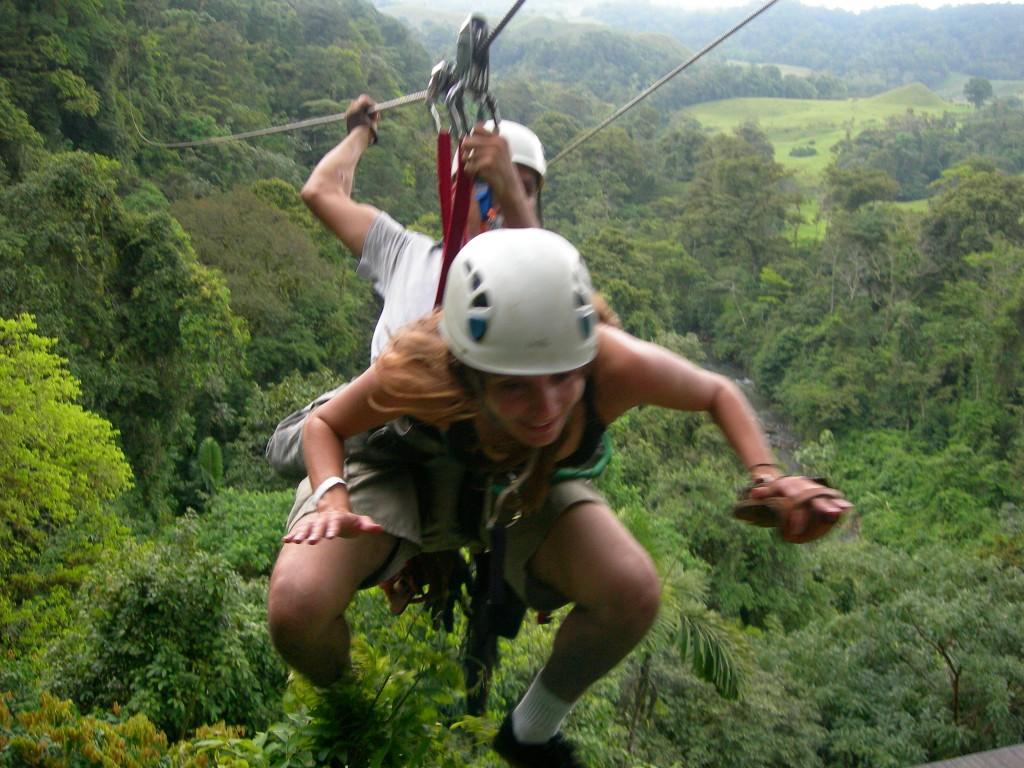 Annette White doing Superman Ziplining in Costa Rica