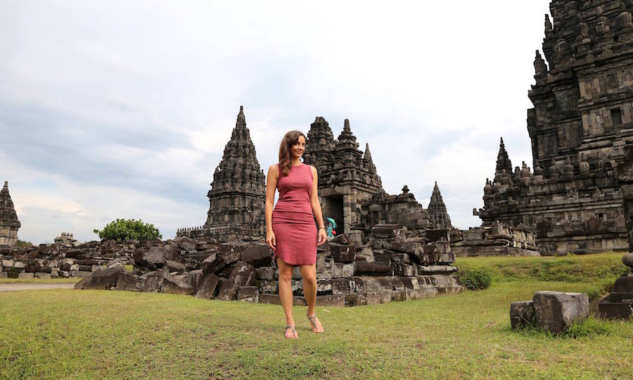 Annette White at Prambanan Temple in Indonesia