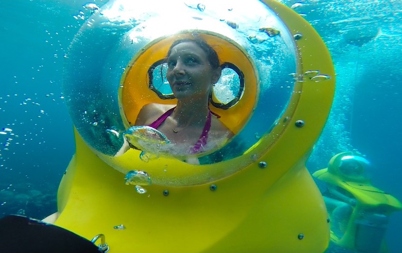 Annette White manning her personal Underwater SUB in Nassau, Bahamas