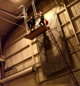 Annette White on the trapeze school platform