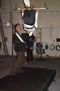 Annette White Practicing at a Trapeze School