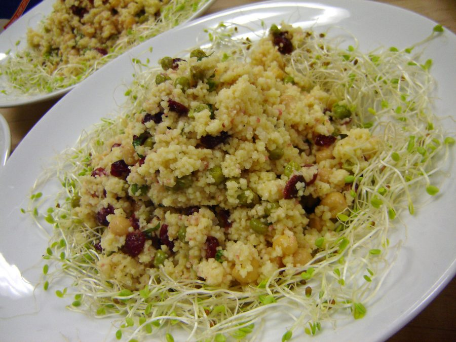 Couscous Salad with Chickpeas, Dates & Cinnamon. I'd skip the chicken...