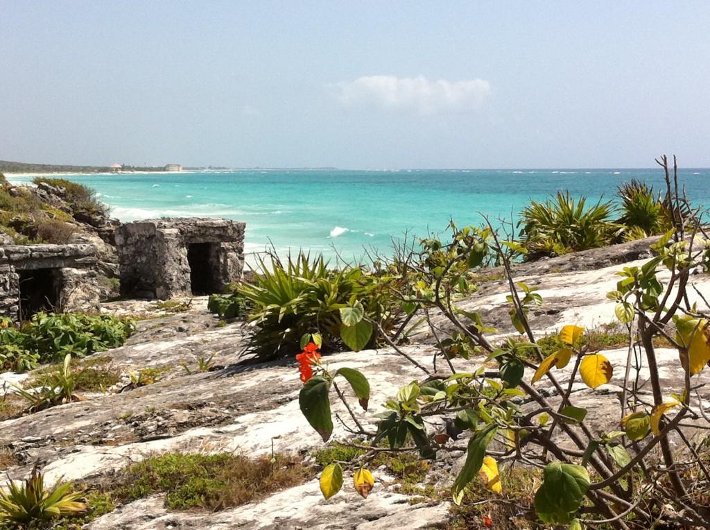 Ocean at Tulum Mayan Ruins in Mexico