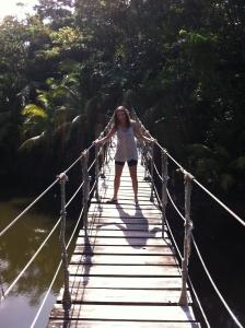 Annette White on suspension bridge