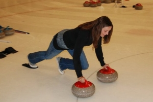Annette White with Curling Stones