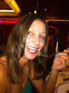 Annette White eating snails