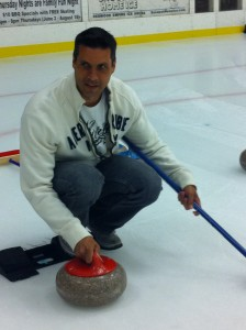 Pete with his curling stone