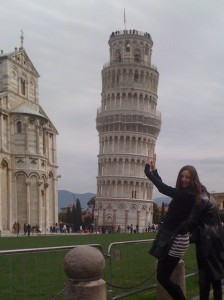 Annette White holding up the Leaning Tower of Pisa