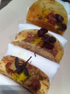 ahi tuna taro taco