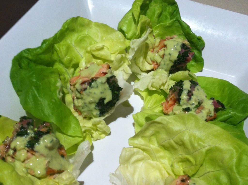 salmon lettuce cups