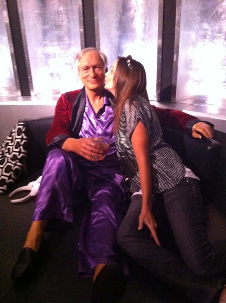 Annette White with Hugh Hefner at Madame Tussauds