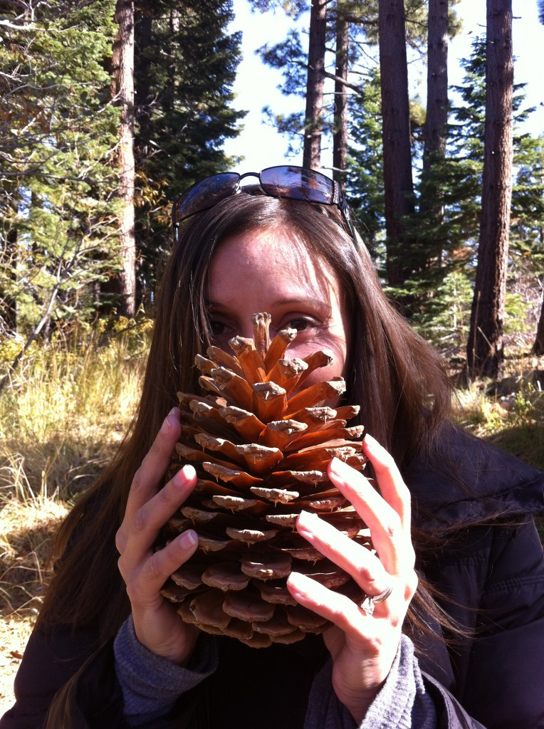 Annette White with a Pine Cone