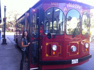 Boarding the Alamo Trolley