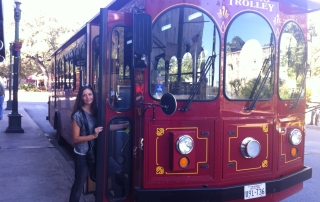 Boarding the Alamo Trolley