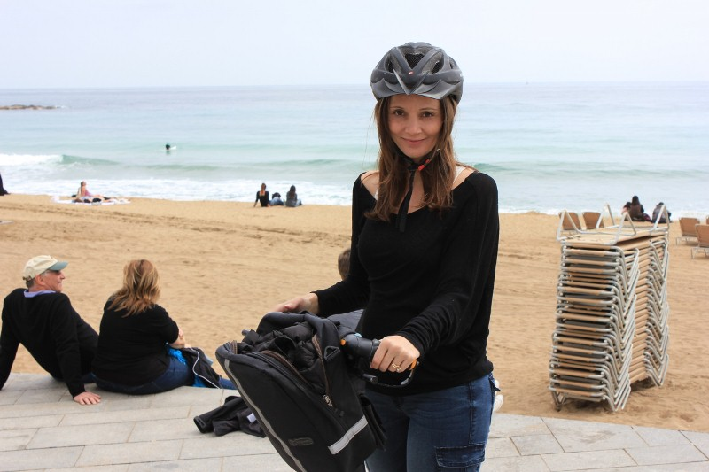 Annette White on a Segway in Barcelona