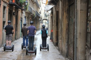 Heading home on a Segway in Barcelona