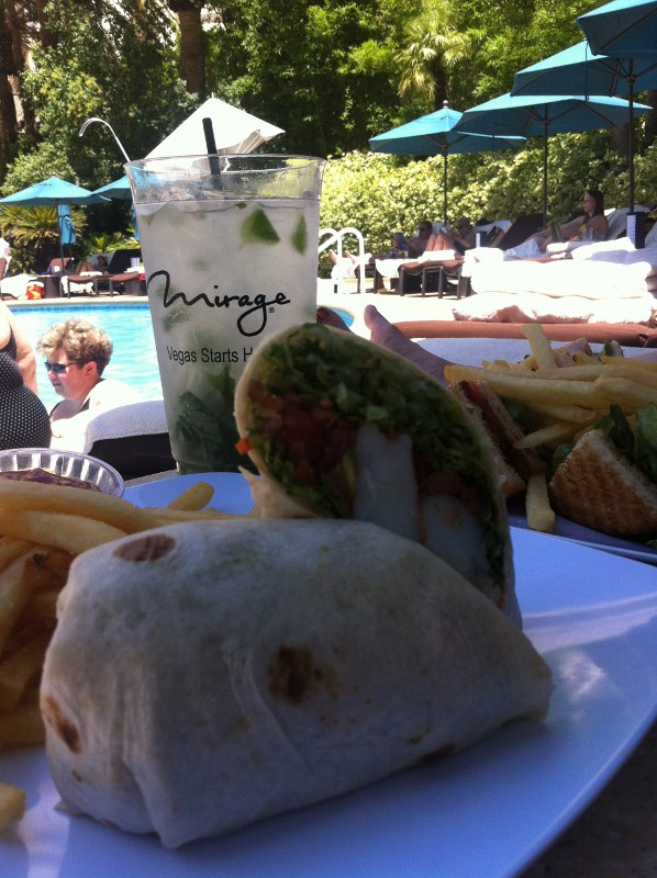 Prawn Wrap at the Mirage Pool