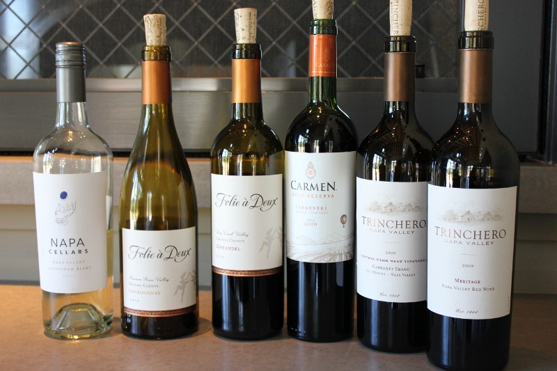 The wine line up at Trinchero Vineyards