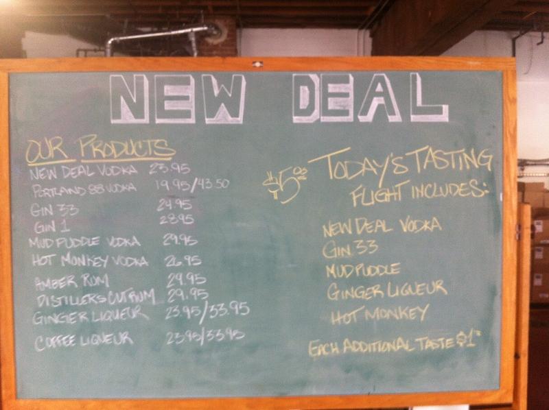 New Deal Portland Distillery Menu