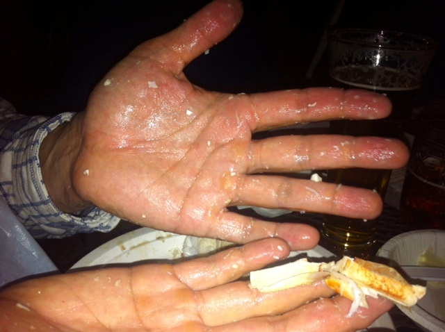 Dirty Hands at the Crab Feed