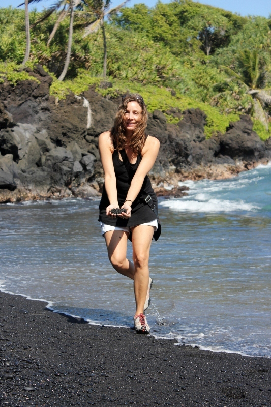 Annette White at Waianapanapa black Sand Beach on the Road to Hana