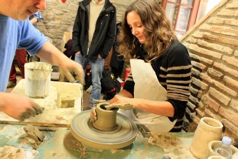 Annette White using the Pottery Wheel In Tuscany