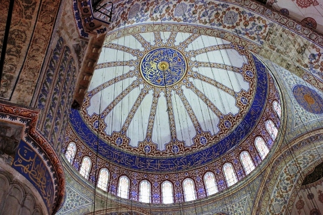 Inside the Blue Mosque in Istanbul