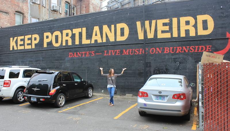 Pose under the Keep Portland Weird Sign