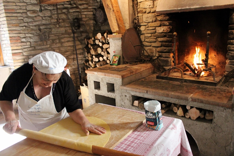 Rolling Pasta Dough by Hand in Northern Italy