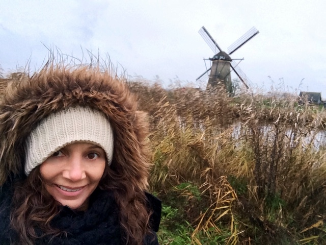 Annette White at the UNESCO Kinderdijk windmills in the Netherlands