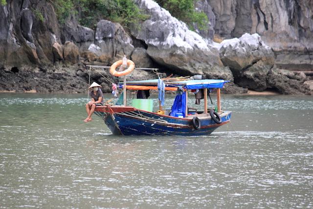 Fisherman at Ha Long Bay Vietnam