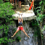 Zip Line into a Cenote in the Yucatan Peninsula of Mexico