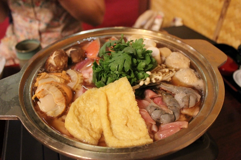... Chankonabe. The miso broth base, heated by the flame, was used to cook