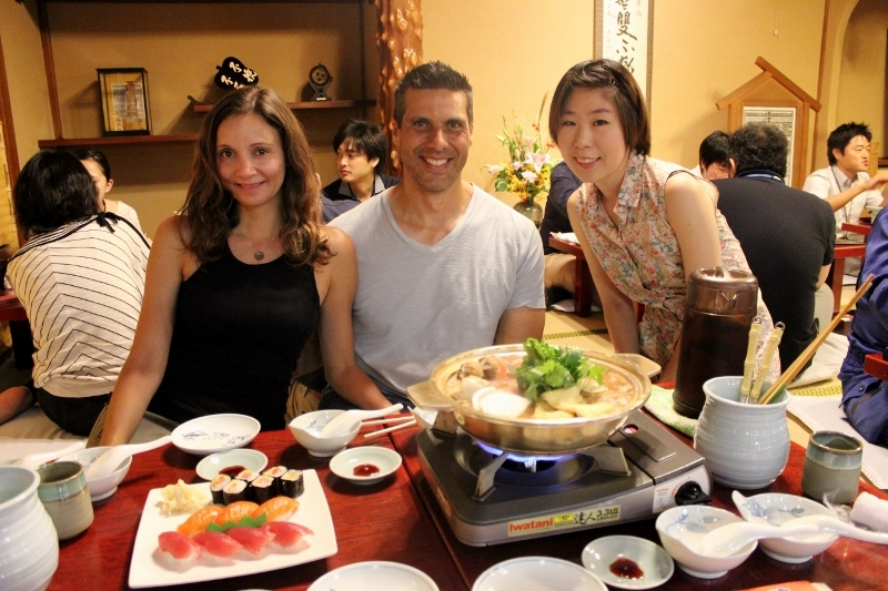 Annette White eating Chankonabe Sumo Wrestler Stew in Tokyo, Japan