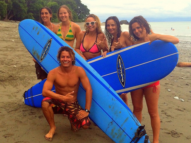 The learn to surf crew in Costa Rica