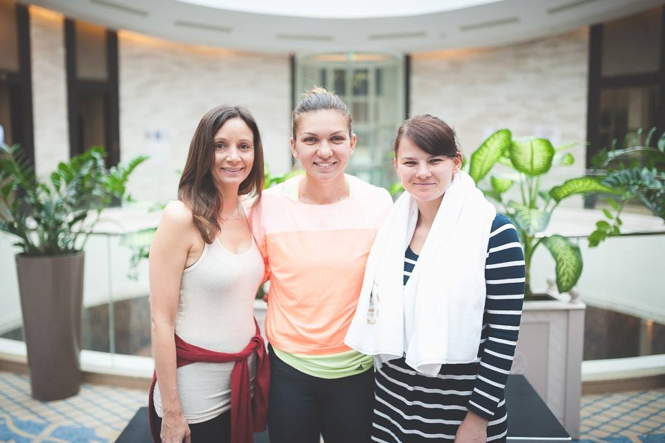 Annette White with tennis pro Simona Halep in  Bucharest