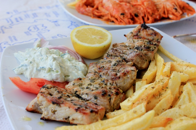 Traditional Dish at a Greek Taverna in Santorini