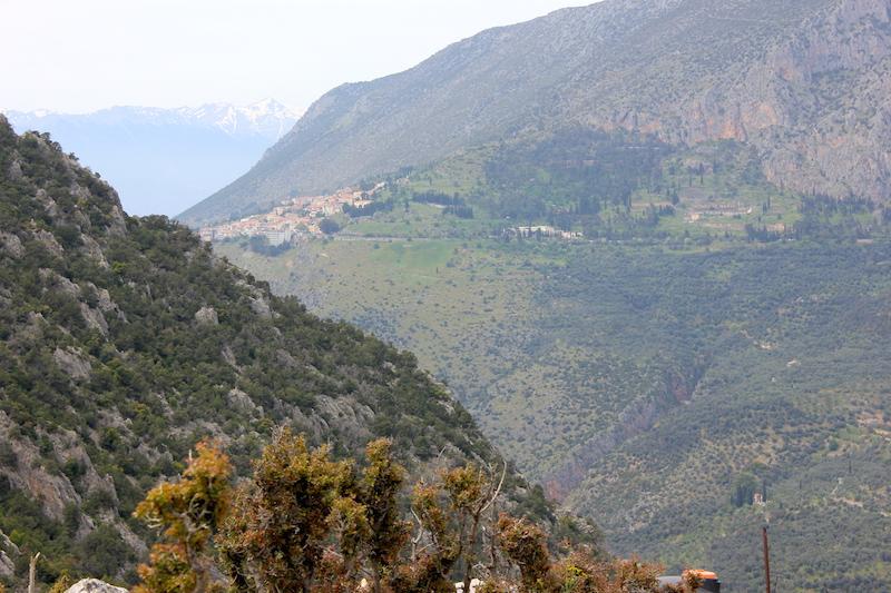 The Route to Delphi Village in Greece
