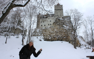 Annette White at (Dracula) Bran Castle in Transylvania, Romania