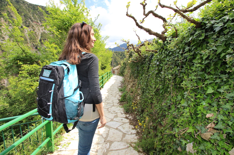 Annette White Wearing a Tripology Backpack