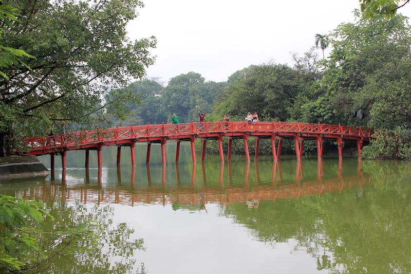 Hoan Kiem Lake Bridge in Hanoi Vietnam
