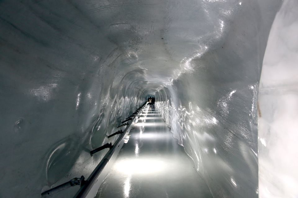 Ice Tunnel at the Top of Europe, Jungfraujoch, Switzerland.