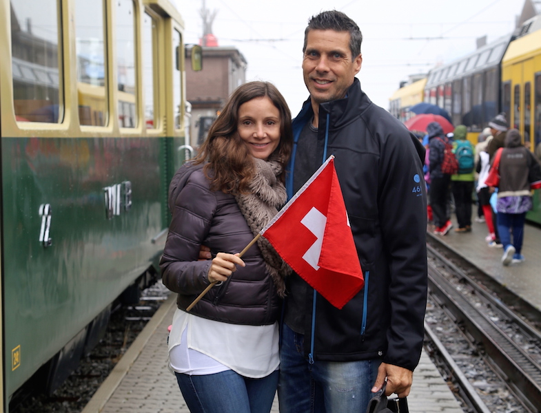 Annette White at the train station in Switzerland