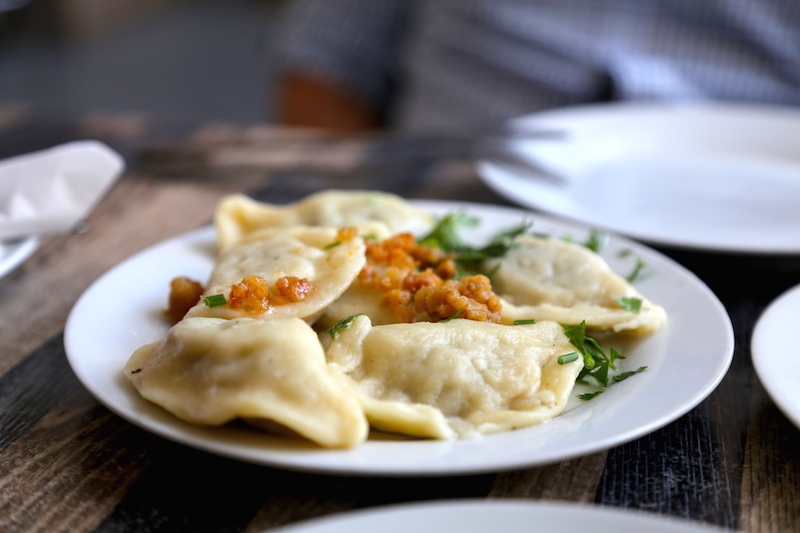 Eating Pierogi in Warsaw, Poland