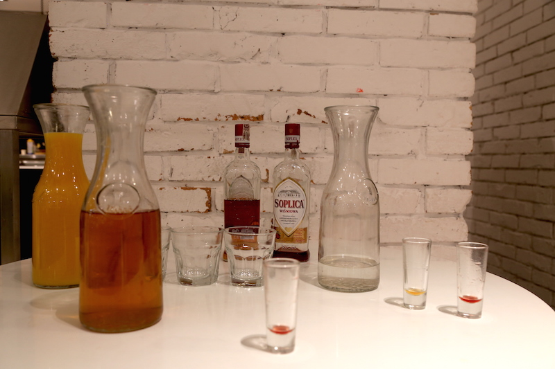 Vodka served at a Polish Pierogi Cooking Class in Warsaw