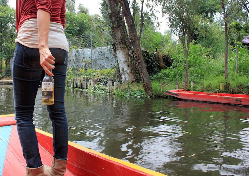 Drinking Coronas on a Trajinera Gondolas in Xochimilco