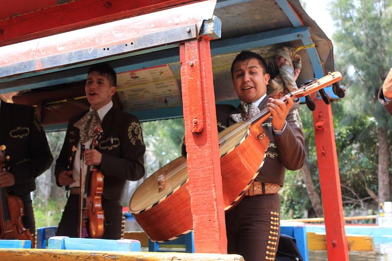Mariachis on a Trajinera Gondolas in Xochimilco