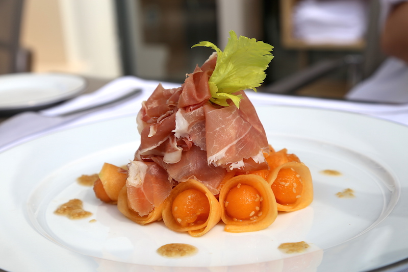 Prosciutto and Melon at Hirondelle Restaurant in Monaco