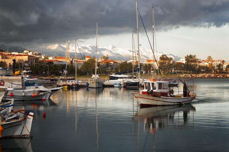 The Marina on the Island of Crete in Greece