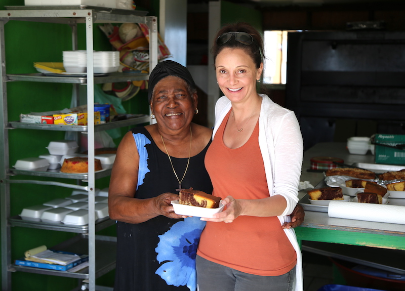 Annette White with Mama at Mom's Bakery in Exuma